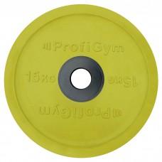 Диск/Блин 15 кг/51 мм желтый Profigym ДОЦ-15/51