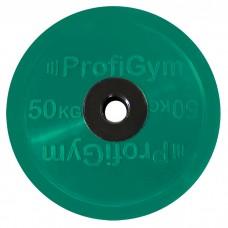 Диск/Блин 50 кг/51 мм зеленый Profigym ДОЦ-50/51